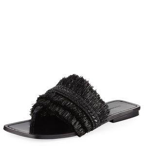 Sigerson Morrison Avis Raffia Leather Slide Sandal